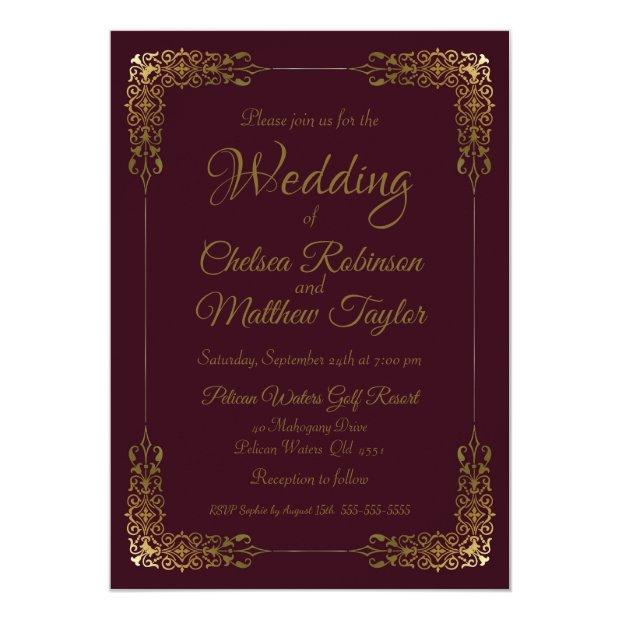 Elegant Gold And Burgundy Lace Wedding Invitation