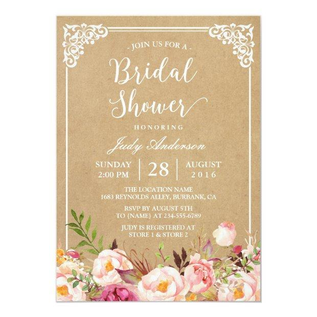 Elegant Rustic Floral Frame Kraft | Bridal Shower