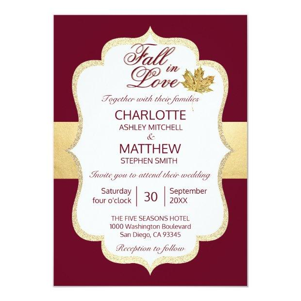 Fall Autumn Burgundy Gold Fall In Love Wedding Invitationss