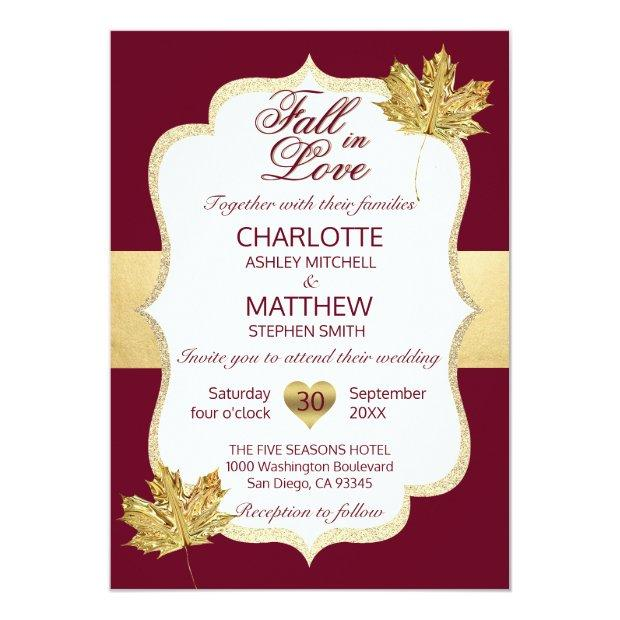 Fall Autumn Burgundy Gold Fall In Love Wedding
