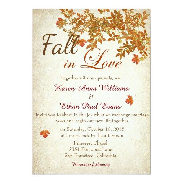 Fall In Love Wedding Invitations