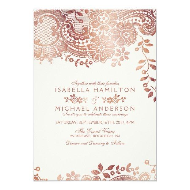 Faux Rose Gold Elegant Vintage Lace Wedding Invitationss