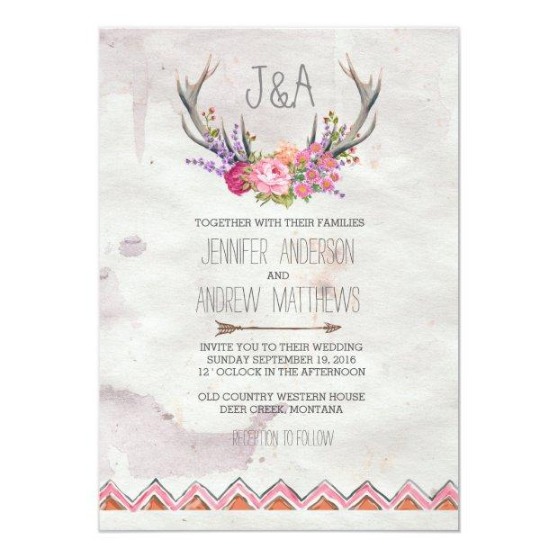 Floral Antlers | Rustic Wedding Invitations