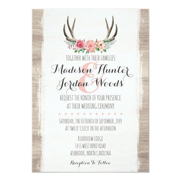 Floral Antlers Rustic Wedding Personalized Formal Invitationss
