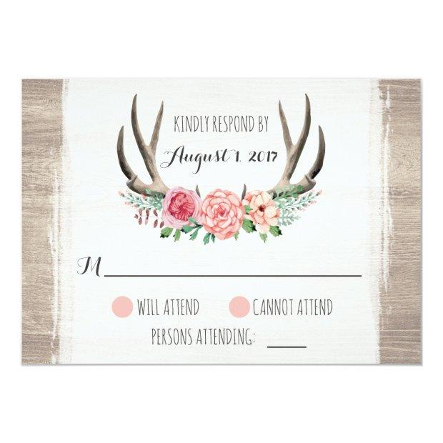 Floral Antlers Rustic Wedding Personalized Rsvp Invitationss