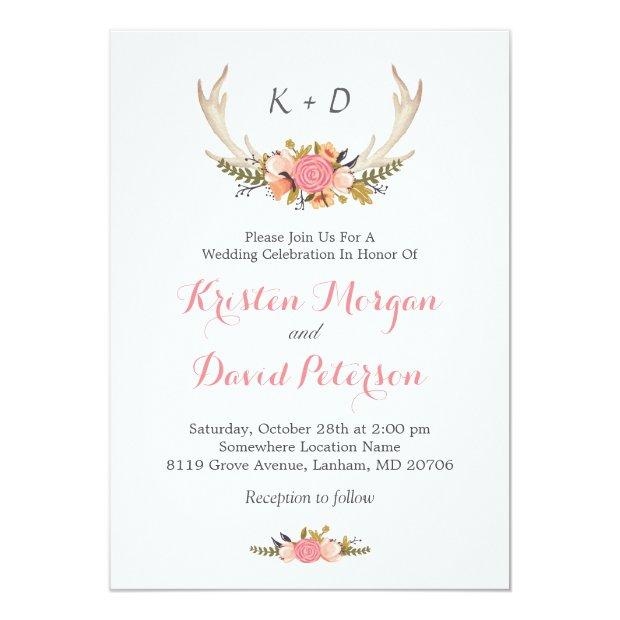 Floral Deer Antler Boho Chic Wedding Celebration