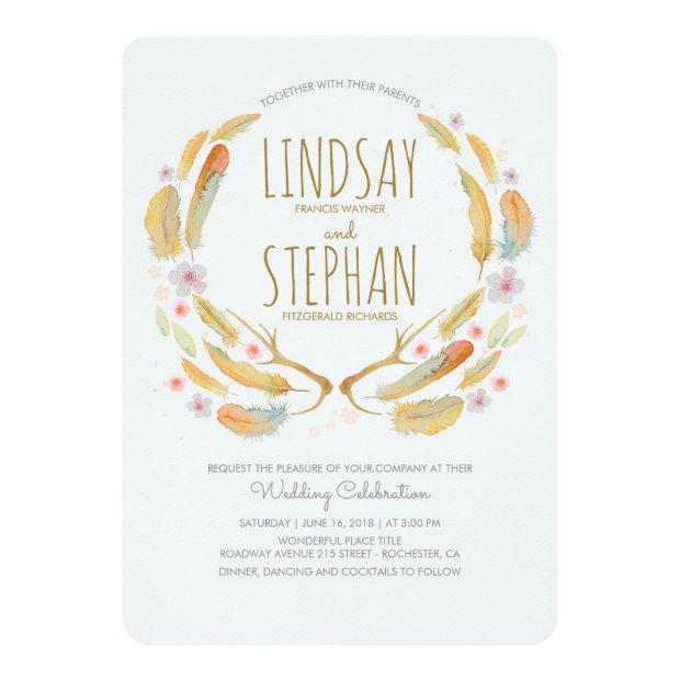 Floral Feathers Antlers Summer Woodland Wedding Invitation