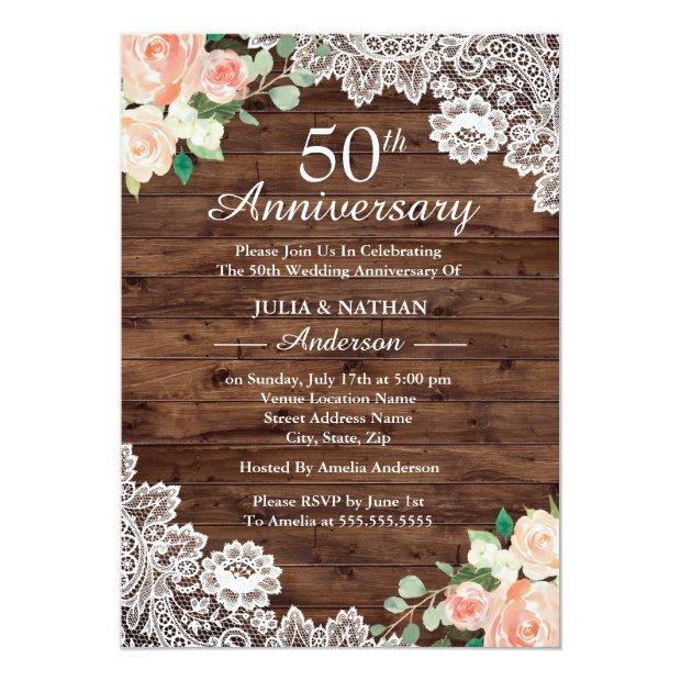 Floral Rustic Wood Lace 50th Wedding Anniversary Invitationss