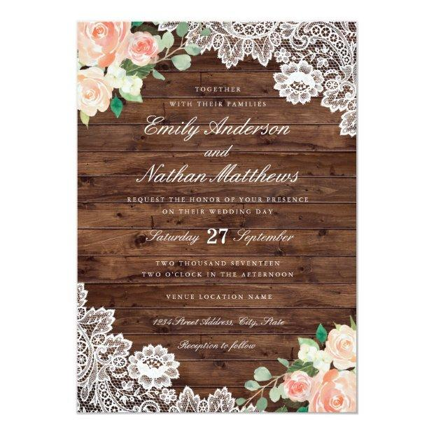 Floral Rustic Wood Lace Wedding Invitation