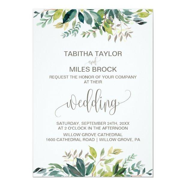 Foliage With Monogram Wreath Backing Wedding Invitationss