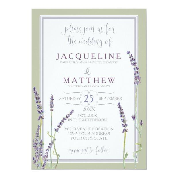French Lavender Flowers Modern Typography Script Invitationss