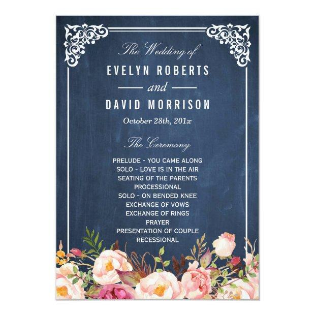 (front) Floral Chalkboard Diy Wedding Program Fan