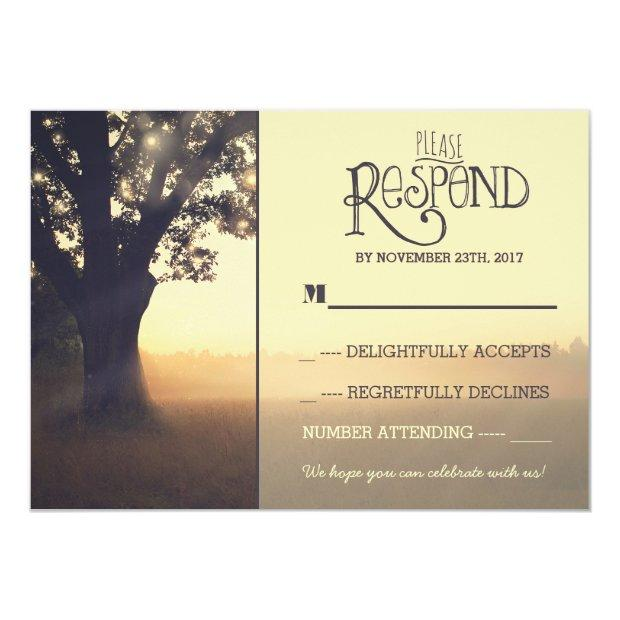 Garden Lights Tree Rustic Wedding Rsvp