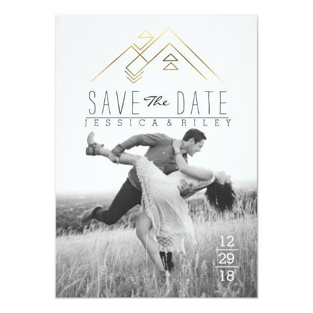 Geometric Mountian | Gold Save The Date Photo Invitationss