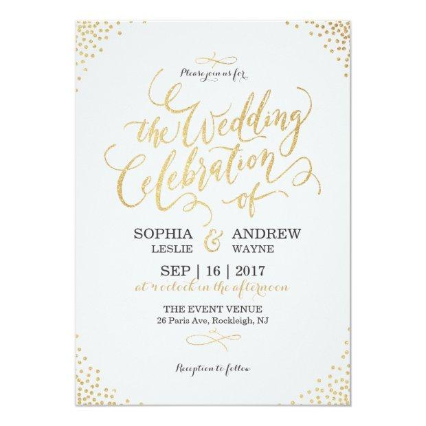 Glam Faux Gold Glitter Calligraphy Vintage Wedding