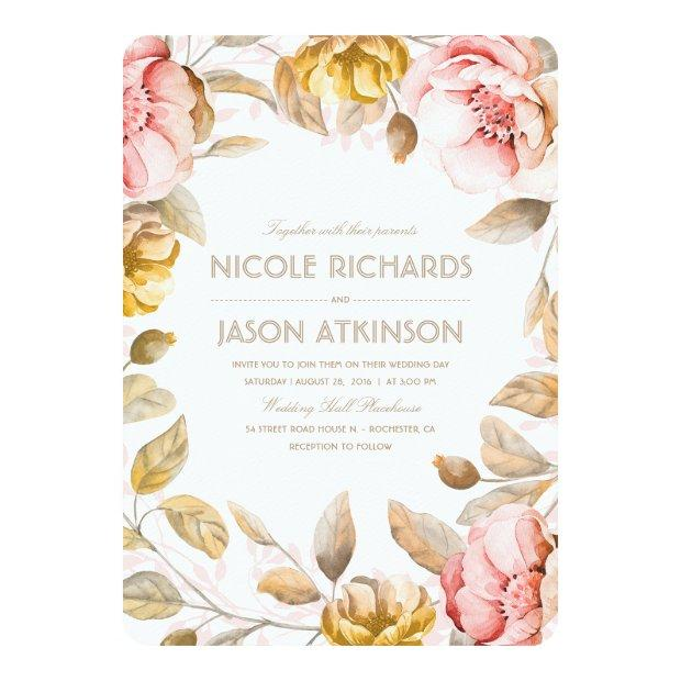 Gold And Blush Floral Watercolor Vintage Wedding Invitation