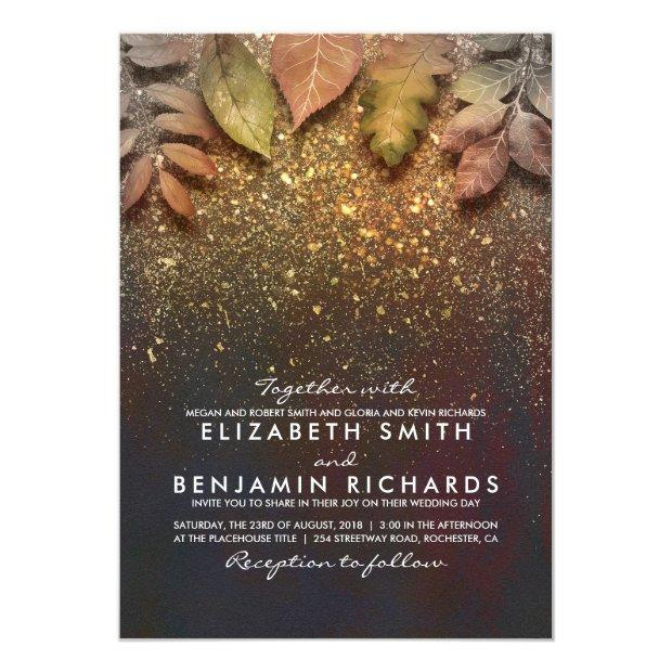 Gold Glitter Vintage Fall Leaves Wedding Invitationss