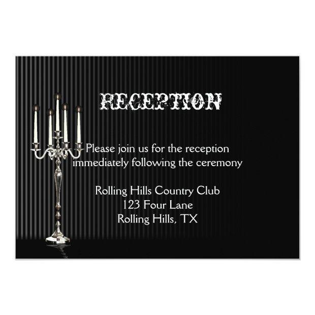Gothic Candelabra On Black Wedding Reception Invitation