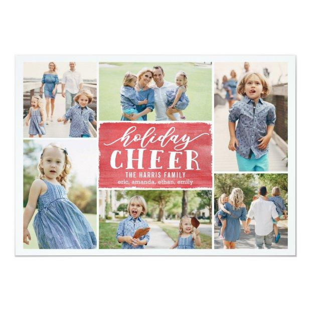 Holiday Cheer Collage Holiday Photo Invitationss