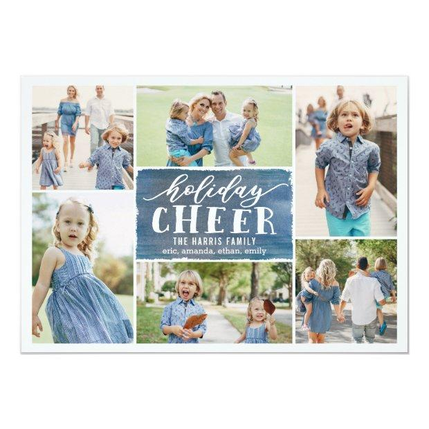 Holiday Cheer Collage Holiday Photo  Navy