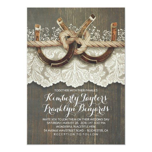 rustic horse shoe wedding invitation