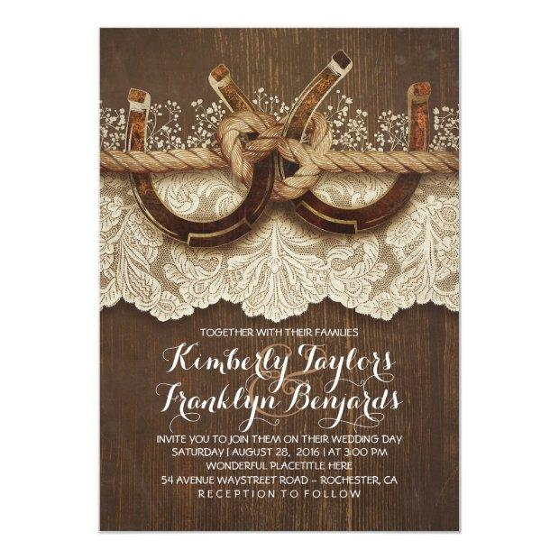 Horseshoes Lace Wood Rustic Country Wedding Invitationss