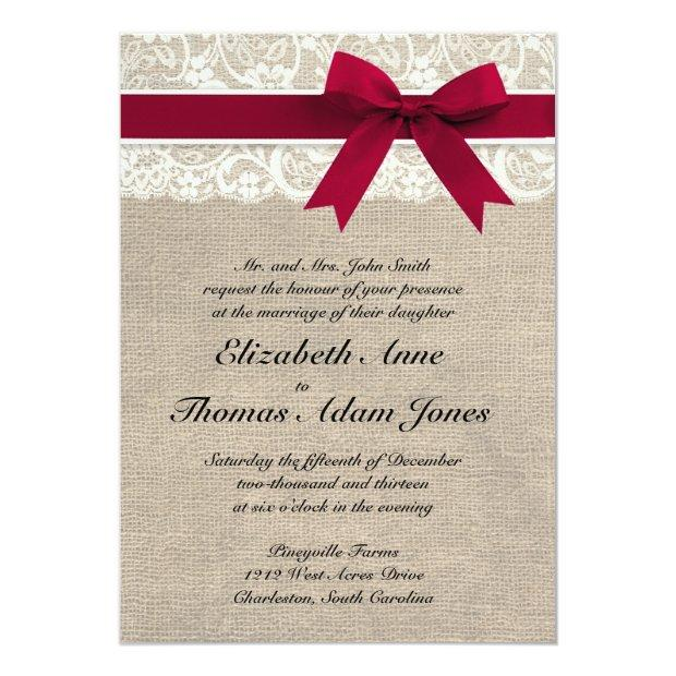 Ivory Lace Red Ribbon Burlap Wedding Invitations
