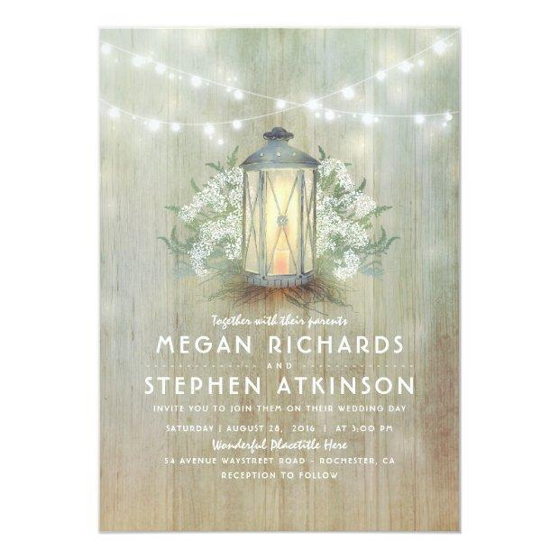 Lantern And Baby's Breath Rustic Summer Wedding Invitationss