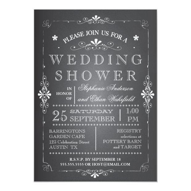 Lovely Chalkboard Couples Wedding Shower Invitationss