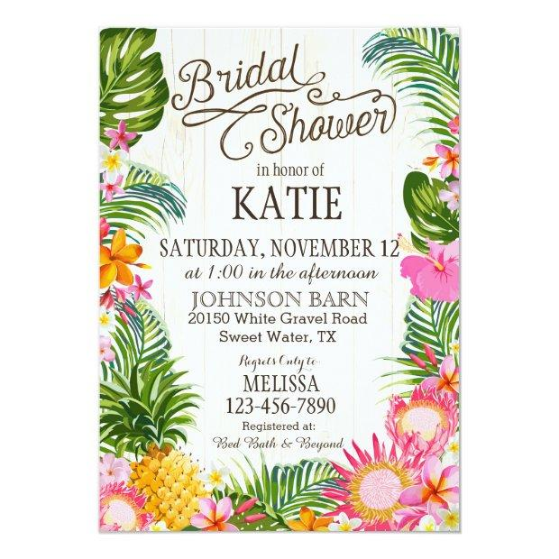 Luau Hawaiian Beach Rustic Bridal Shower Invitationss