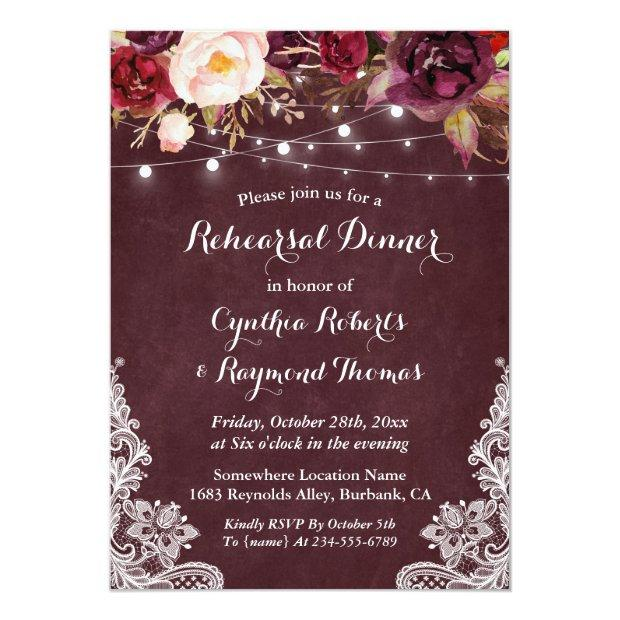 Marsala Floral String Lights Lace Rehearsal Dinner Invitationss