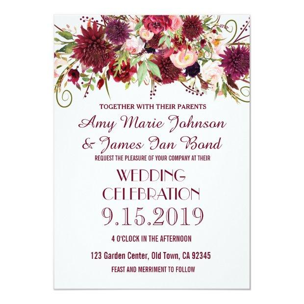 Marsala Red Burgundy Floral Wedding Invitationss