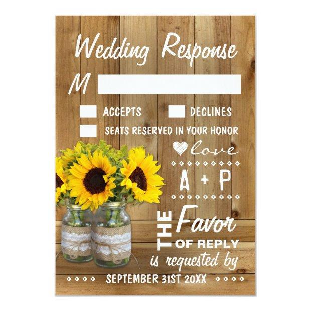 Mason Jar Burlap Lace Sunflower Wedding Rsvp Invitationss