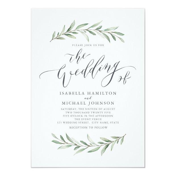 Modern Calligraphy Simple Greenery Wedding Invitation