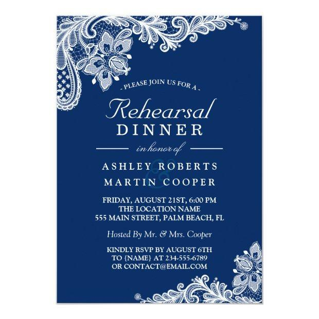 Modern Navy Blue Lace Wedding Rehearsal Dinner