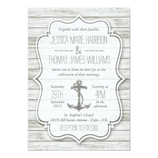 Nautical Whitewashed Wood Beach Wedding Collection Invitationss