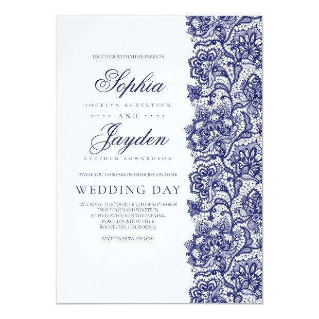 Navy Blue Lace Elegant And Modern Wedding Invitationss