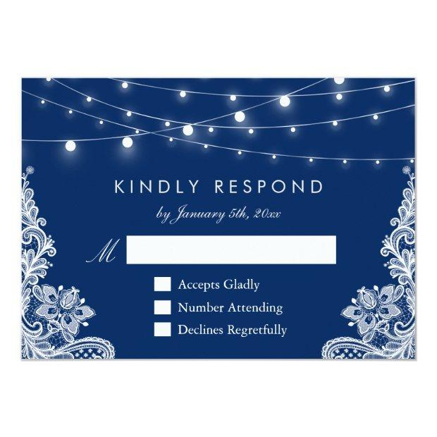 Navy Blue String Lights Lace Wedding Rsvp Reply Invitationss