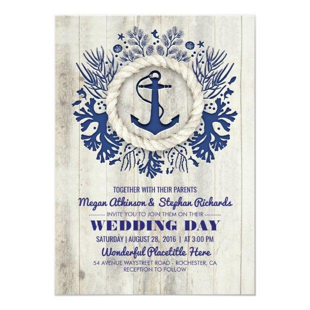 Navy Nautical Anchor Rustic Beach Wedding