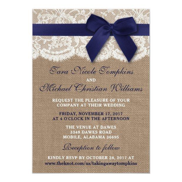 Navy Ribbon On Burlap & Lace Wedding Invitationss