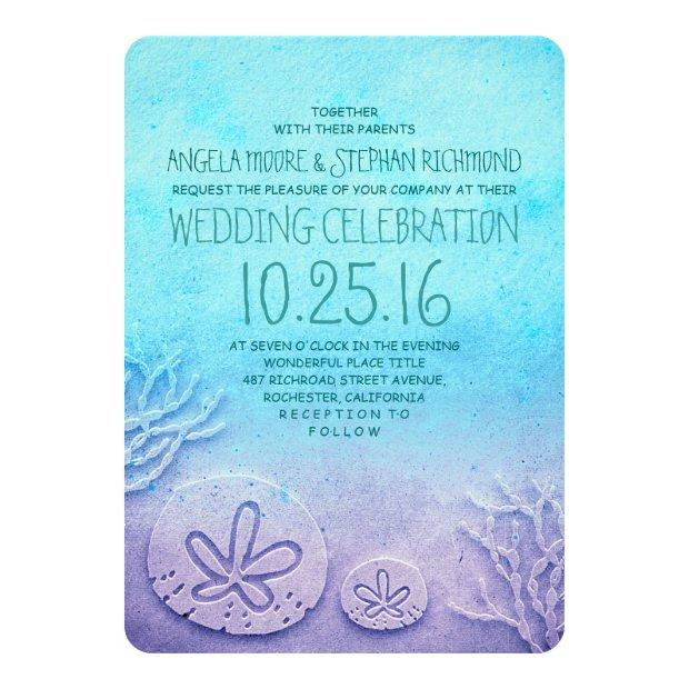Ombre Beach Wedding Invitationss - Turquoise Blue