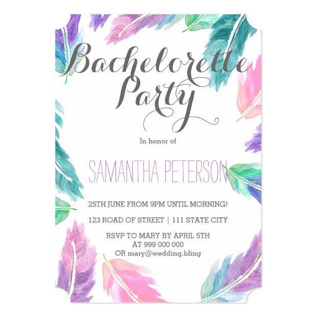 Painted Watercolor Feathers Bachelorette Party Invitation
