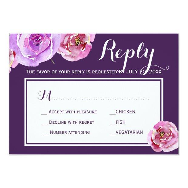 Peach Peony Plum Wedding Response Meal Choice Rsvp