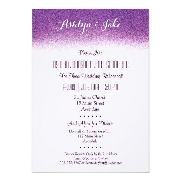 Plum Wedding Rehearsal And Dinner Invitations