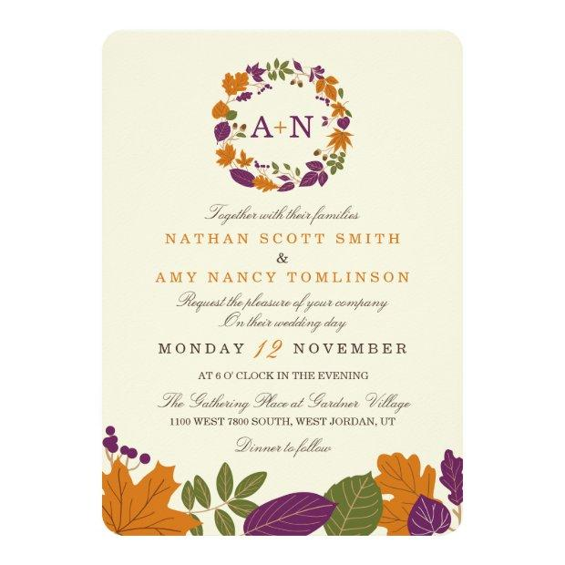 Plum And Pumpkin Fall Wreath Wedding Invitationss