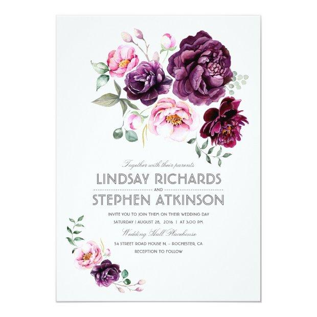 Plum Burgundy And Blush Floral Watercolor Wedding Invitationss