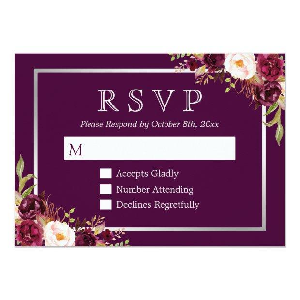 Plum Purple Floral Silver Grey Wedding Rsvp
