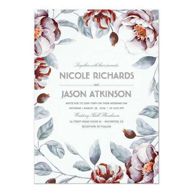 Plum Purple Floral Watercolor Wrap Vintage Wedding Invitation