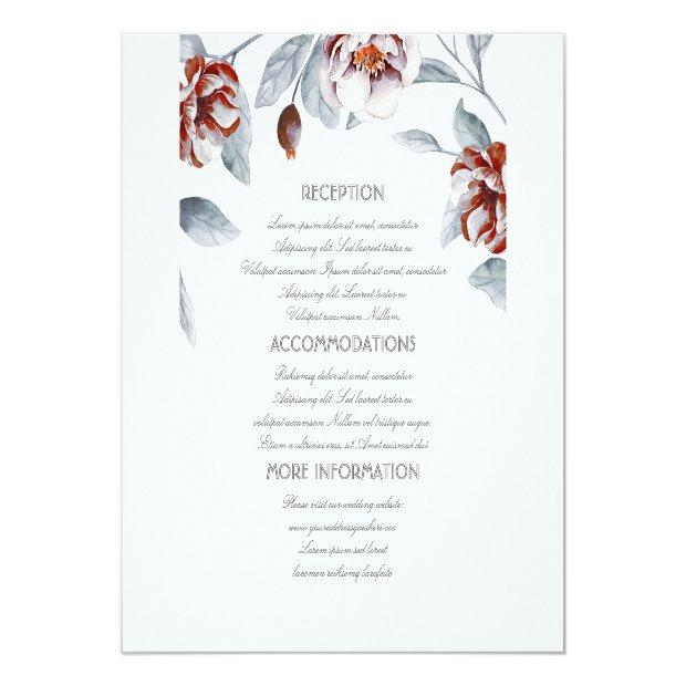 Plum Purple Flowers Wedding Information Guest Invitationss