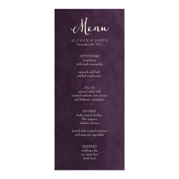 Plum Purple Wedding Menu